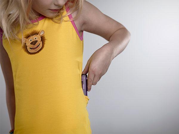 Lenny Kids Tank Top - Yellow (Pink Trim)